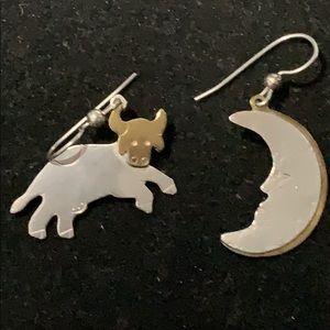 Jewelry - STERLING & BRASS  COW & CRESCENT MOON EARRINGS